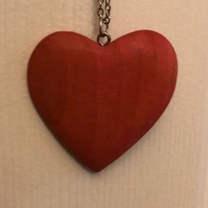 Jewelry - Wooden Red Heart Pendant on Long Silver Chain